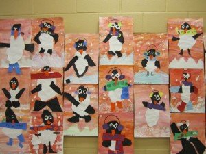 First Grade Torn Paper Penguins