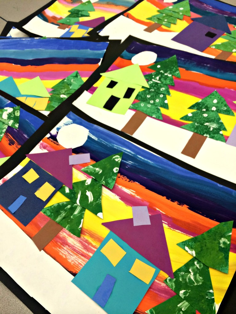 kindergarten winter shapes georgetown elementary art blog